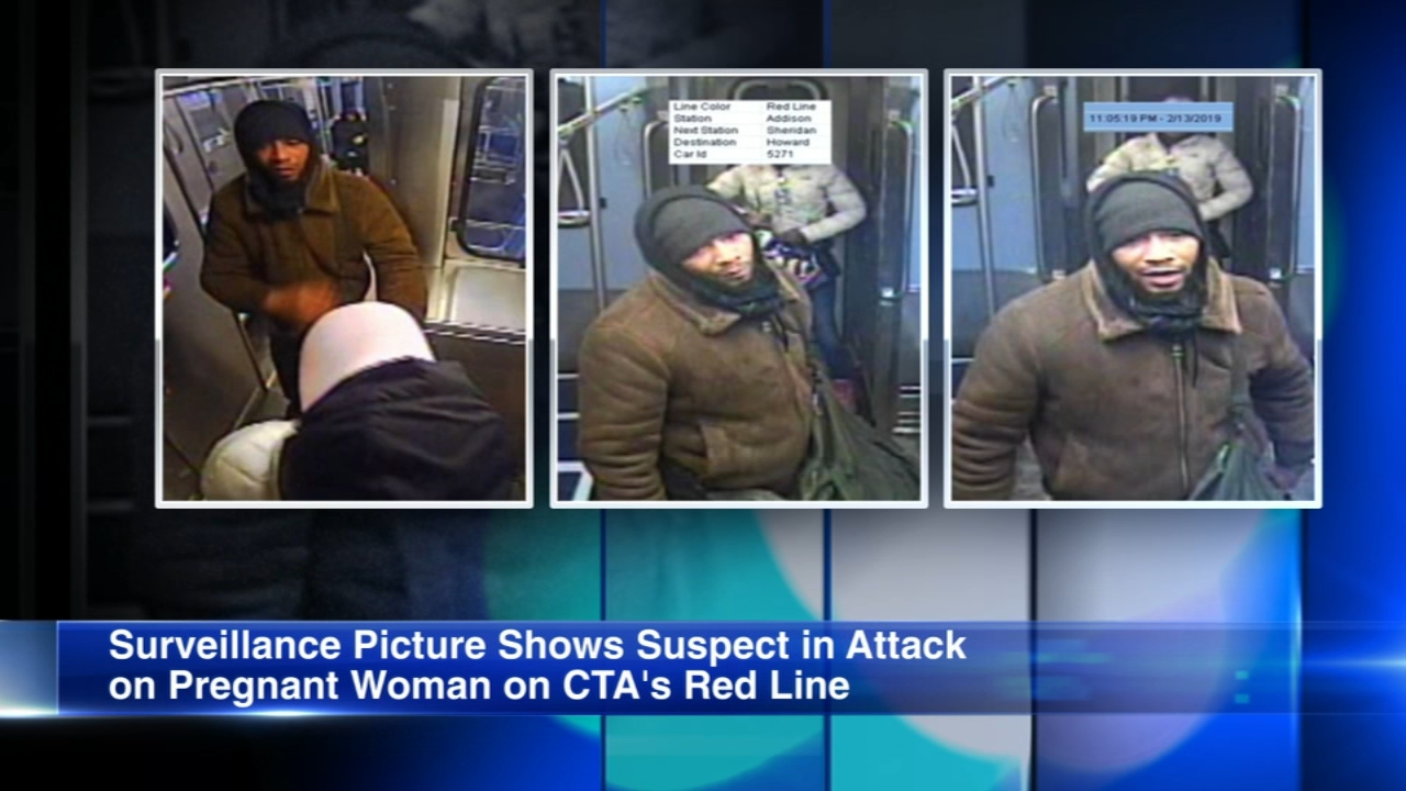 Police have released surveillance images of a man accused of attacking a pregnant woman on a CTA Red Line train.