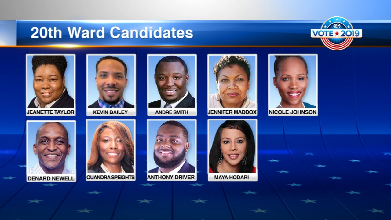 The following candidates are running for the 20th Ward seat: The candidates are: Kevin Bailey, Anthony Driver, Jr., Maya Hodari, Nicole Johnson, Jennifer Maddox, Dernard Newell, An