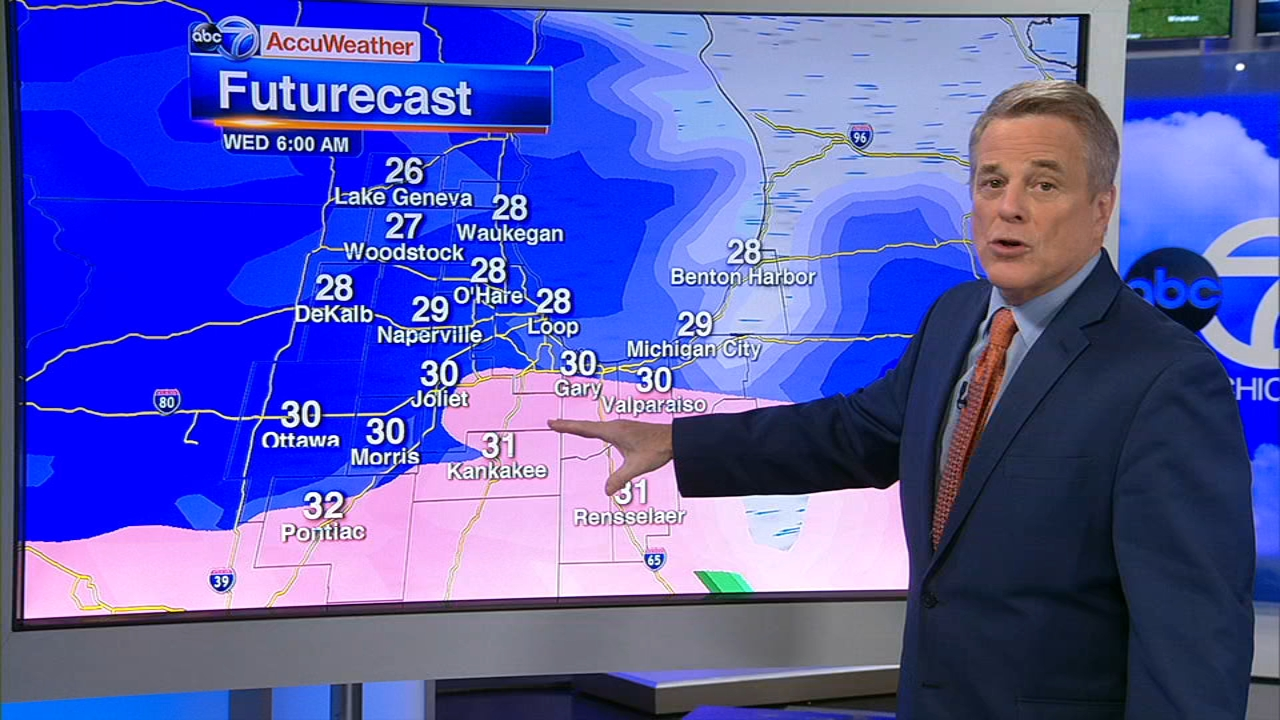 Snow and ice will arrive early Wednesday in Chicago and likely make for a messy morning commute, the National Weather Service is warning.