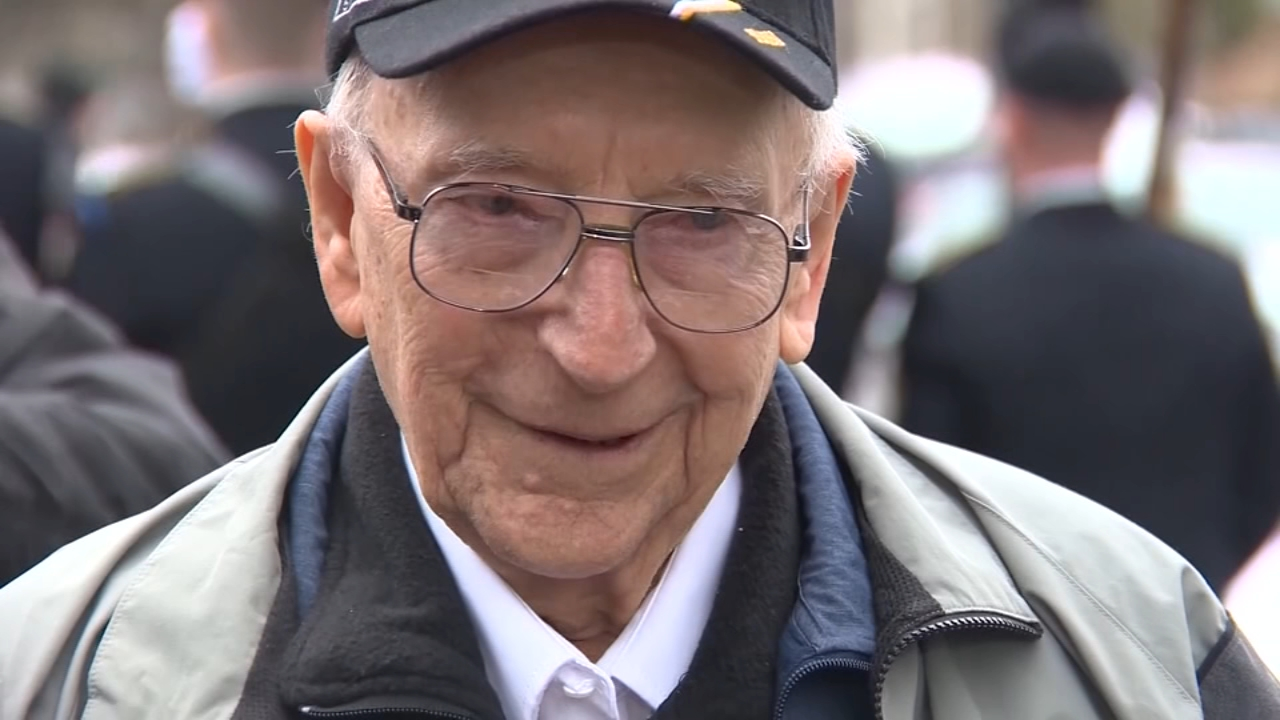 A World War II veteran returned home for a surprise ride in a Sherman tank he used to operate in Europe during the war.