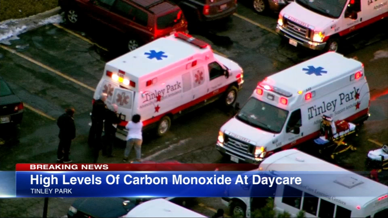 Several children at a Tinley Park daycare center were treated Thursday for exposure to high levels of carbon monoxide.