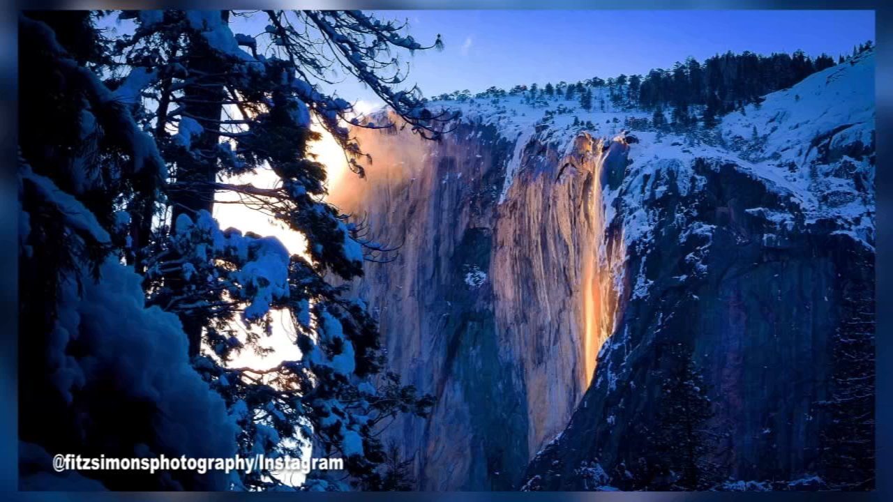 Yosemite National Park's Horsetail Falls was on fire Tuesday -- or, at least it appeared that way when hikers arrived to the falls after a two-hour hike through waist-deep snow.