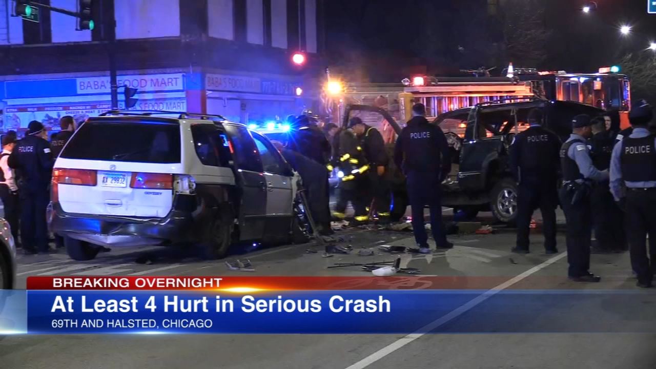At least four people were injured in a multi-vehicle, rollover crash early Saturday.