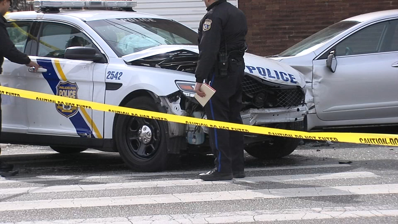 Philadelphia Police vehicle involved in crash in North Philadelphia.