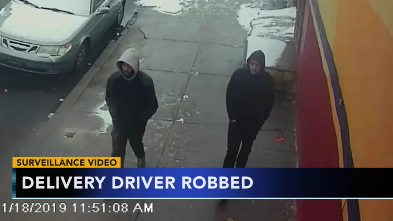 Philadelphia police are searching for two suspects accused of robbing a Herr delivery driver last month. Rick Williams has the latest on Action News at Noon on February 11, 2019.