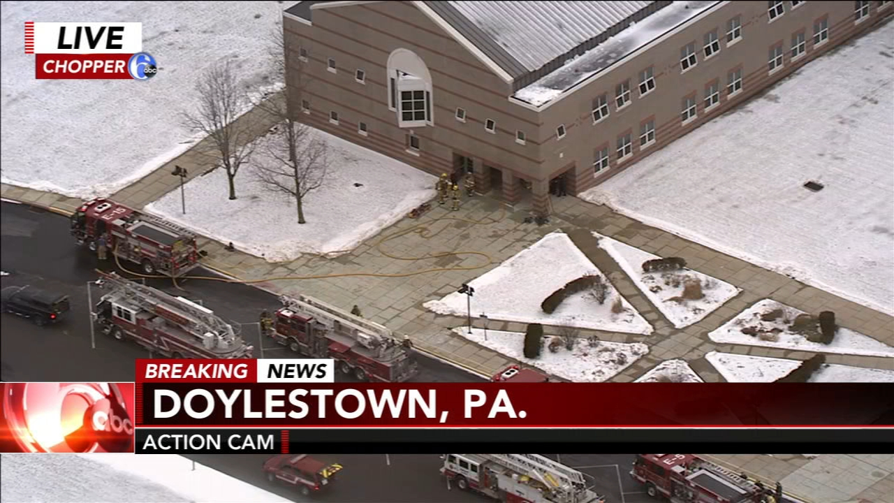 Crews are battling a fire at a Bucks County elementary school on Wednesday afternoon. Sarah Bloomquist has more on Action News at Noon on Feb. 13, 2019.