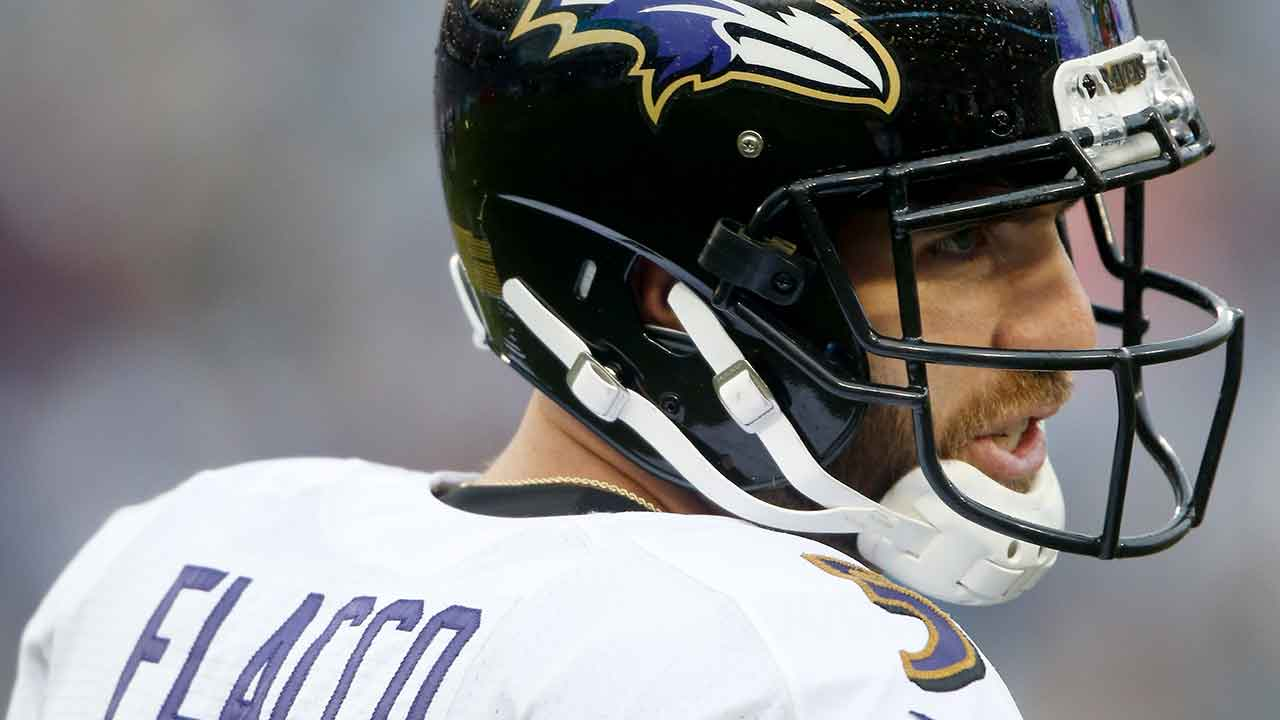 Baltimore Ravens quarterback Joe Flacco plays against the Tennessee Titans in the first half of an NFL football game Sunday, Oct. 14, 2018, in Nashville, Tenn.
