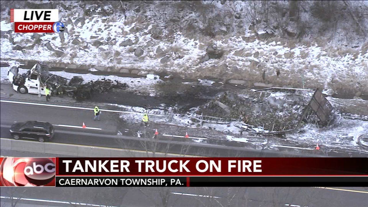 Truck carrying pineapples catches fire on Pa. Turnpike in Berks County. Monica Malpass reports during Action News at 5:30 p.m. on February 13, 2019.