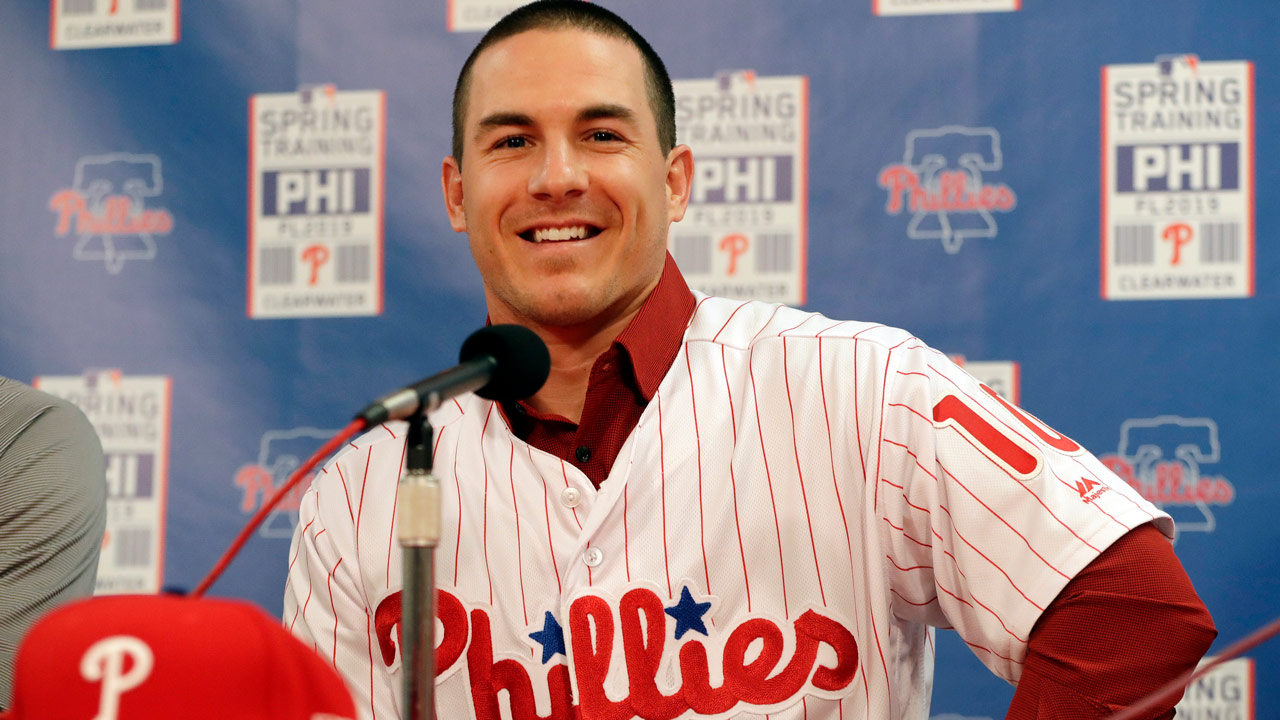 Philadelphia Phillies catcher J.T. Realmuto responds to a question during a news conference at the Philadelphia Phillies spring training baseball facility, Tuesday, Feb. 12, 2019.
