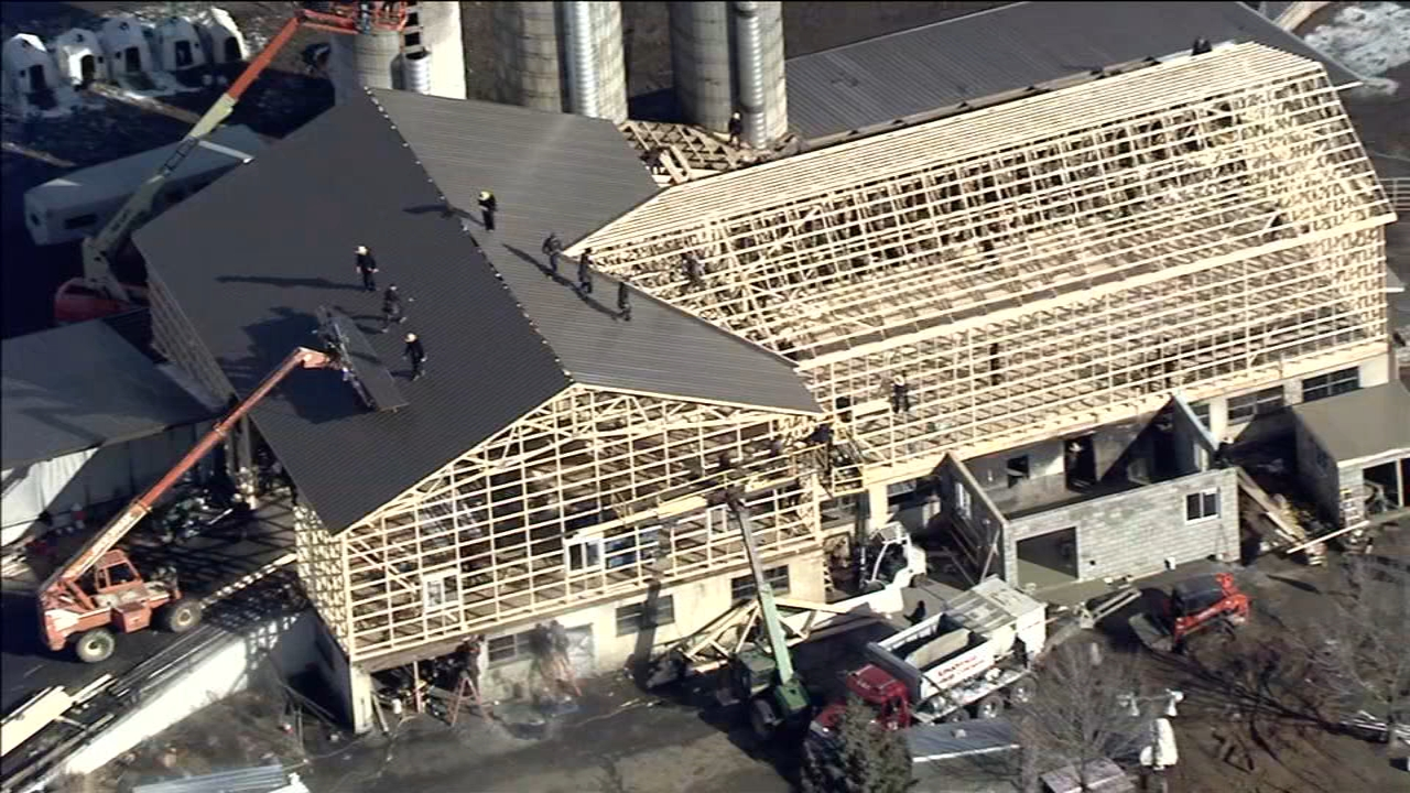New barn being raised 2 days after Honey Brook blaze. Watch the report from Action News at 4:30 p.m. on February 15, 2019.