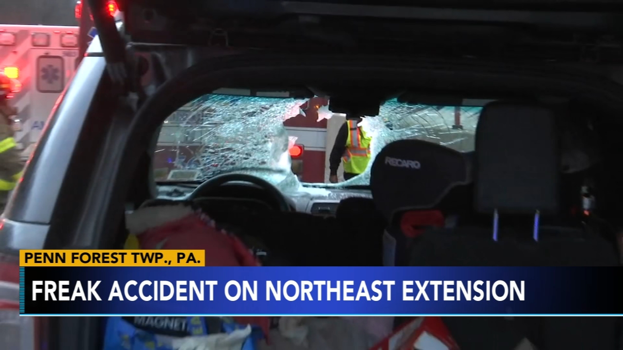 Flying debris hits SUV in Carbon County; family of 5 injured. Jim Gardner reports during Action News at 11 p.m. on February 15, 2019.