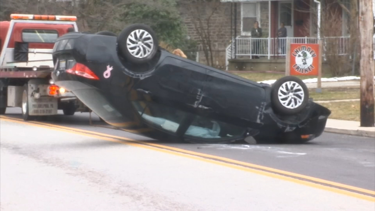 Car overturns in Ridley Township crash. Rick Williams reports during Action News at Noon on February 15, 2019.