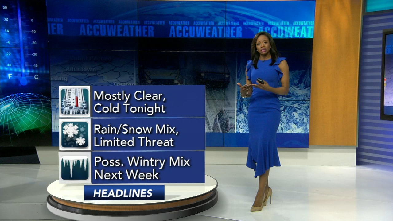 Melissa Magee reports on AccuWeather during Action News at 11 p.m. on February 16, 2019.
