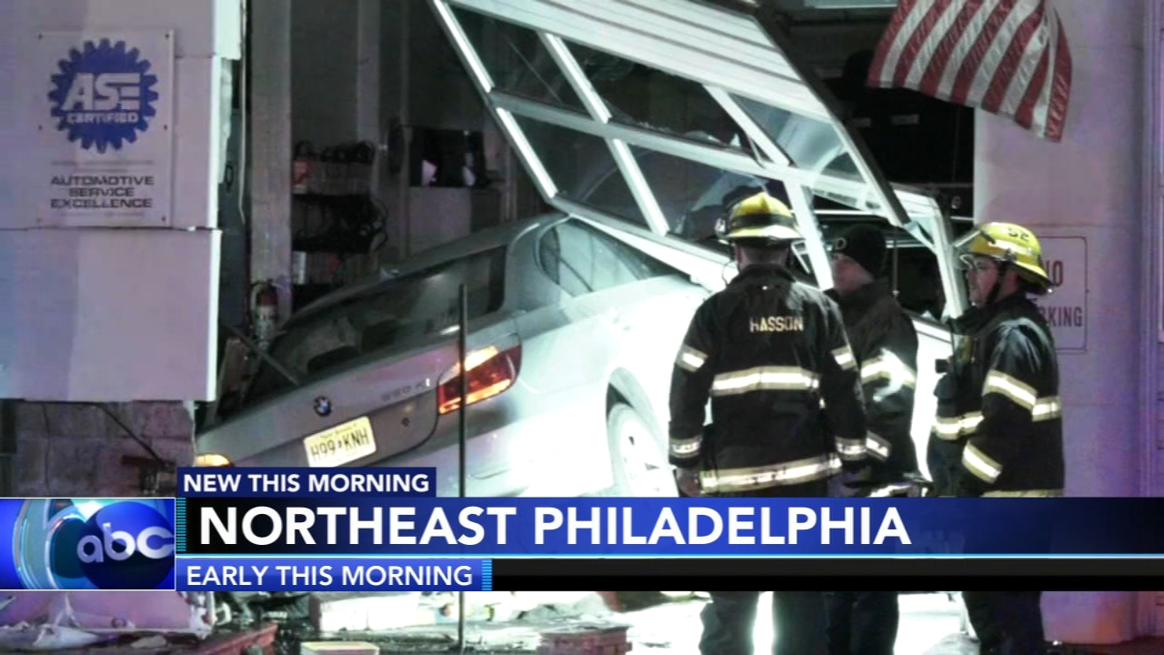Car slams into auto repair shop in Northeast Philadelphia. Christie Ileto reports during Action News at 6 a.m. on February 16, 2019.