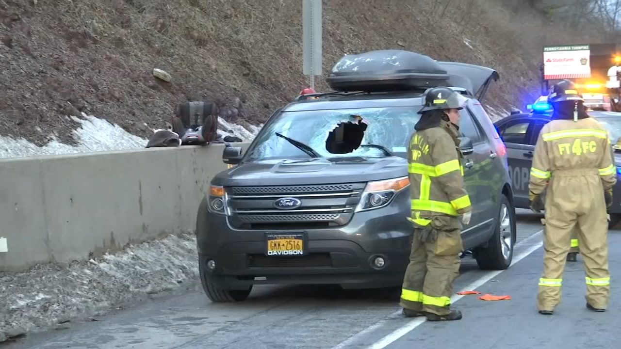 5 injured after heavy industrial wheel crashes into SUV windshield on PA Turnpike. Christie Ileto reports during Action Nws at 6 a.m. on February 16, 2019.