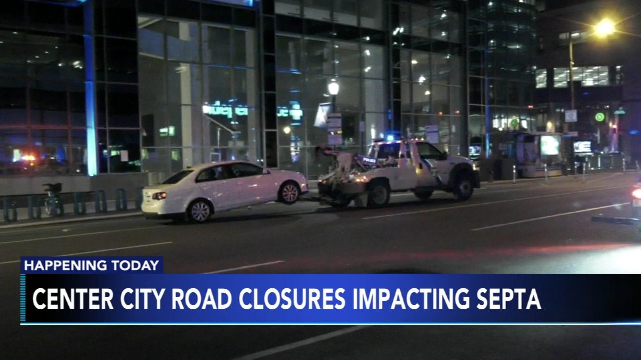 Multiple Center City streets temporarily shut down to accommodate equipment transportation. Nydia Han reports during Action News at 6 a.m. on February 17, 2019.