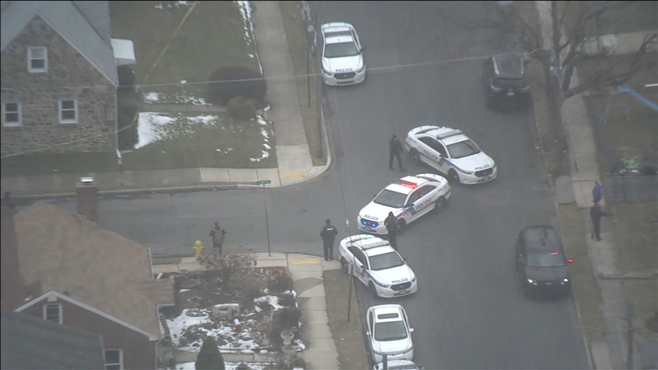 Chopper 6 over scene of shooting in Allentown, Pa. on February 18, 2019.