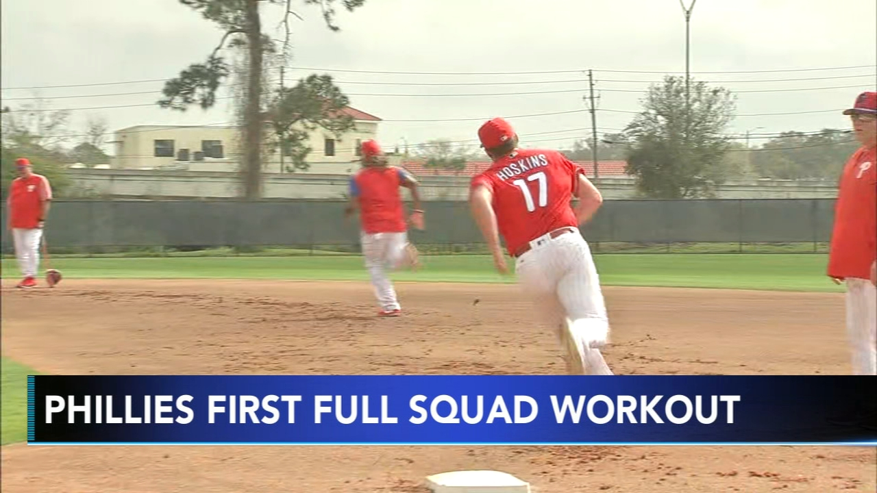 The Phillies hit the field bright and early Monday morning for their first full squad workout. Jeff Skversky has more on Action News at 4 p.m. on Feb. 18, 2019.