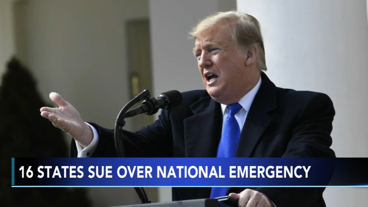 NJ and Del. are among 16 states suing Trump over his emergency declaration. Brian Taff has more on Action News at 10 p.m. on Feb. 18, 2019.