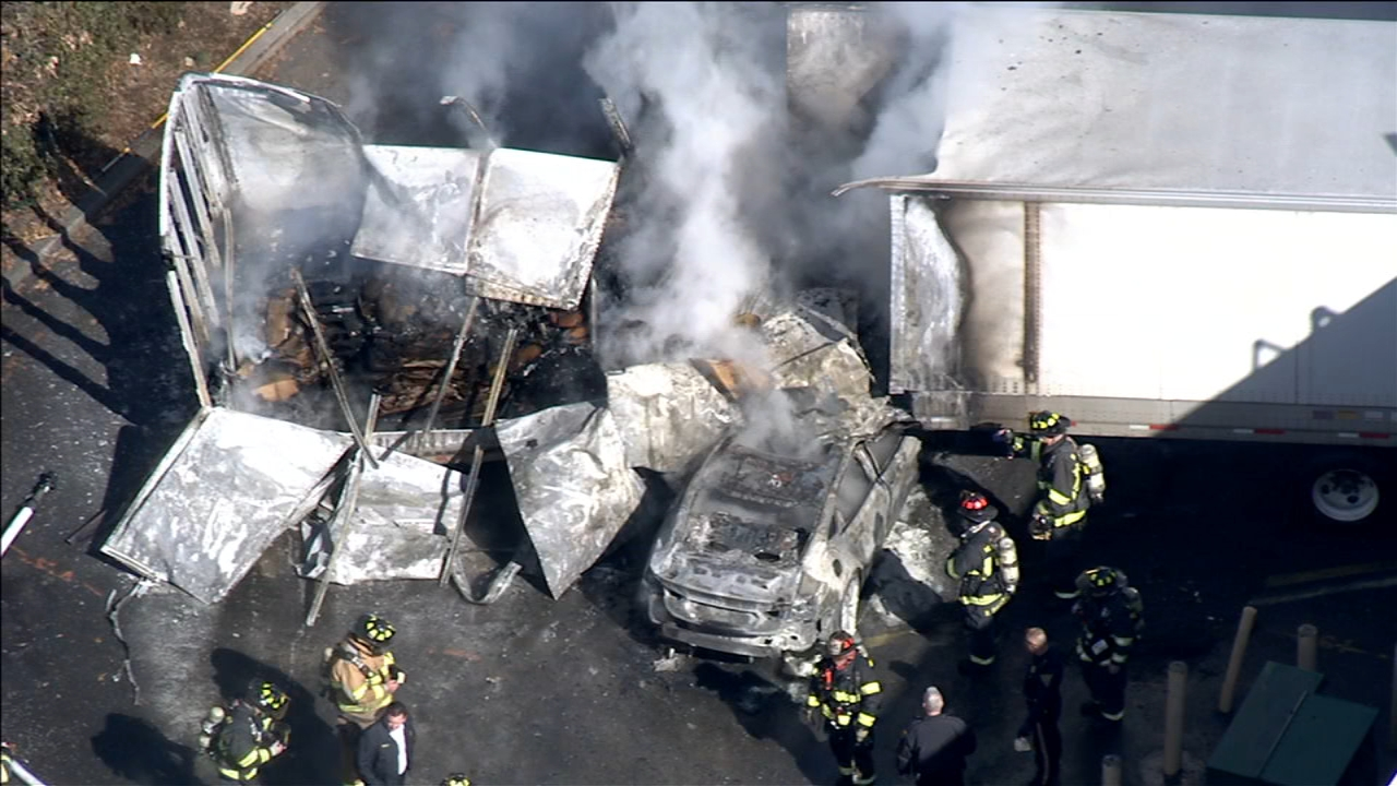 Chopper 6 was over the scene of this fiery crash in Moorestown, New Jersey on February 19, 2019.