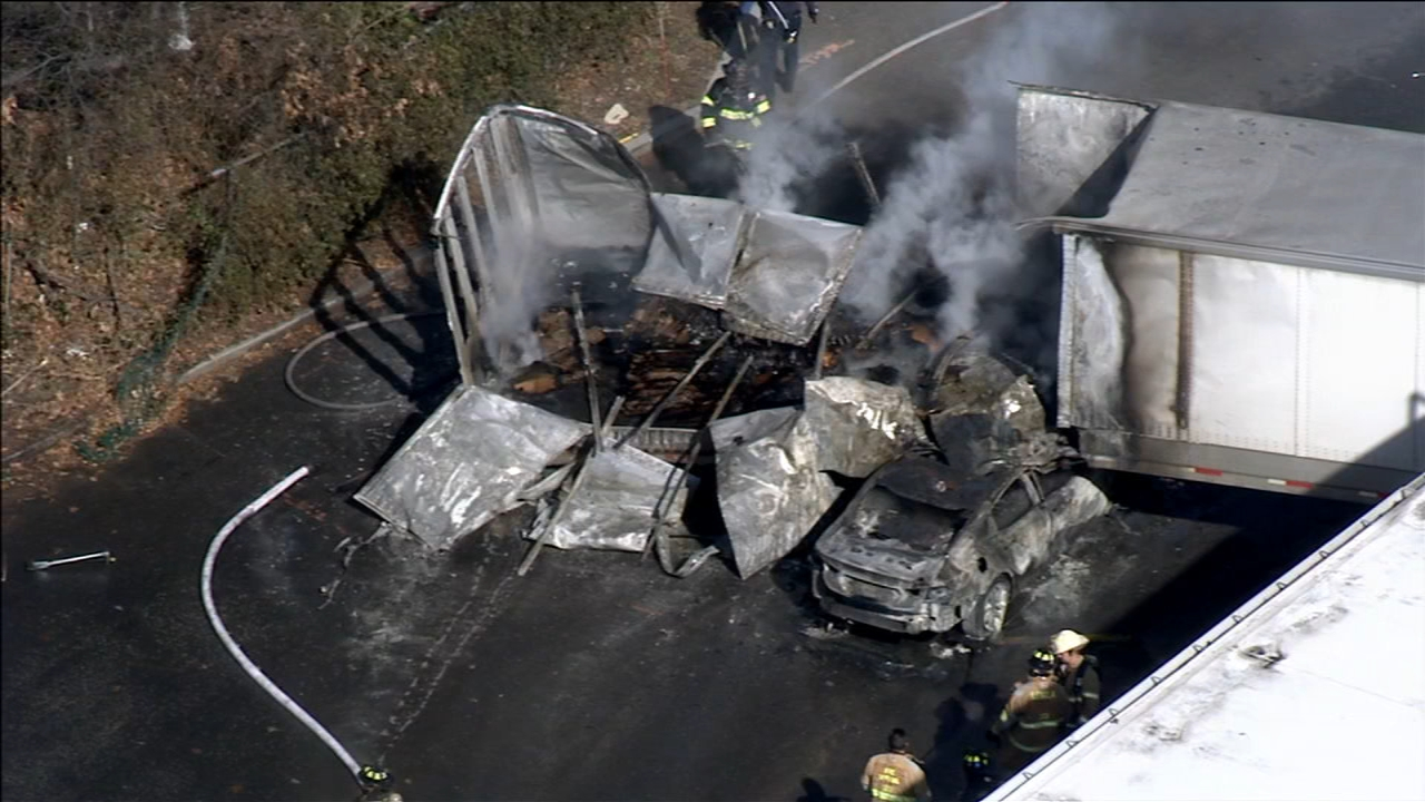 Man dies following fiery Burlington County crash: as seen on Action News at 4 p.m. February 19, 2019