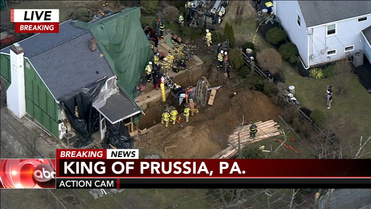 A rescue operation is underway in King of Prussia after officials say a backhoe fell into a ditch on Tuesday afternoon.