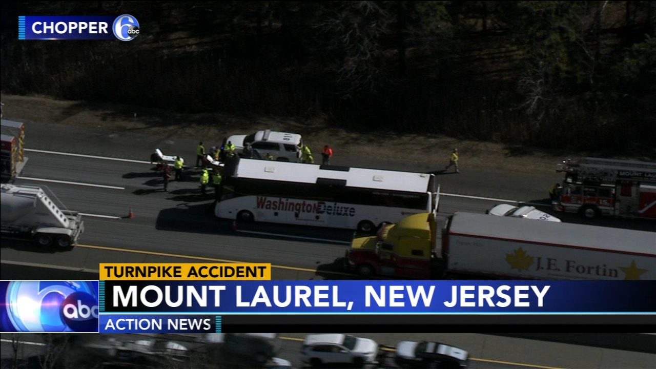 Several people were hurt after a bus collides with a tractor-trailer in Mount Laurel. Jim Gardner has more on Action News at 6 p.m. on Feb. 19, 2019.