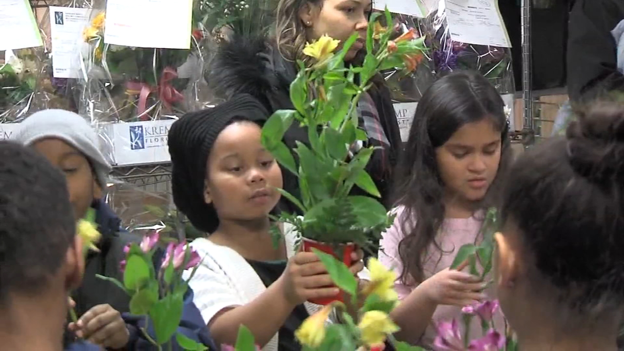 Students at Overlook Elementary School in Abington learned how to arrange and match flowers.