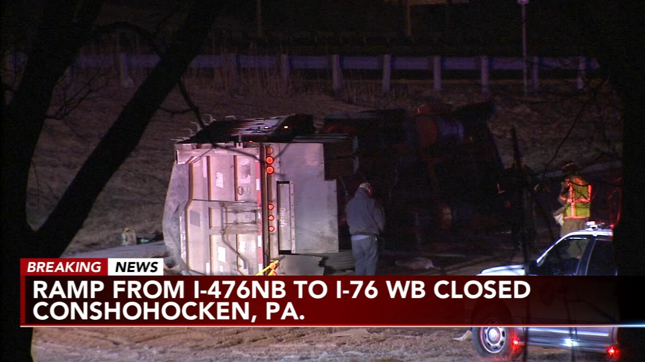 Overturned truck closes ramp from I-476NB to I-76WB. Karen Rogers reports during Action News Mornings on February 20, 2019.