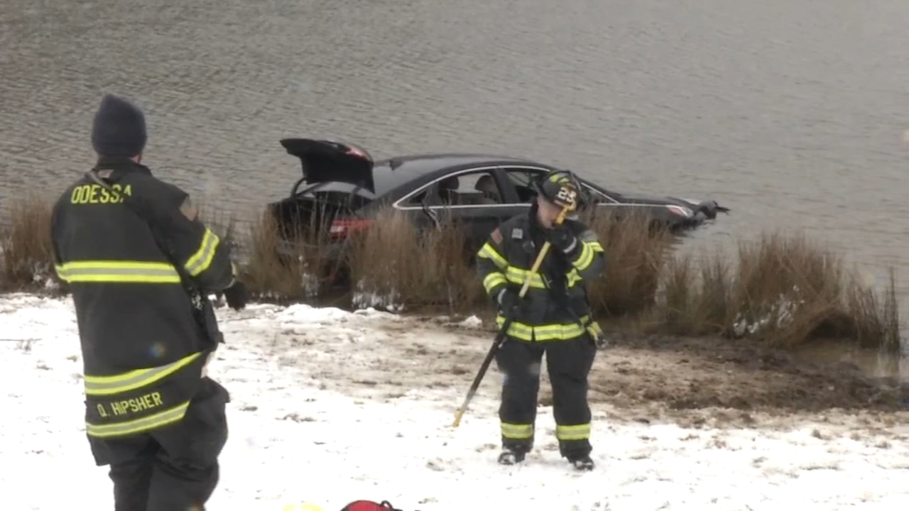 Car plunges into pond: as seen on Action News at 4 p.m., February 20, 2019