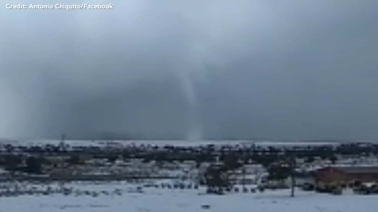 A resident in New Mexico captured video of what hes calling a snownado.