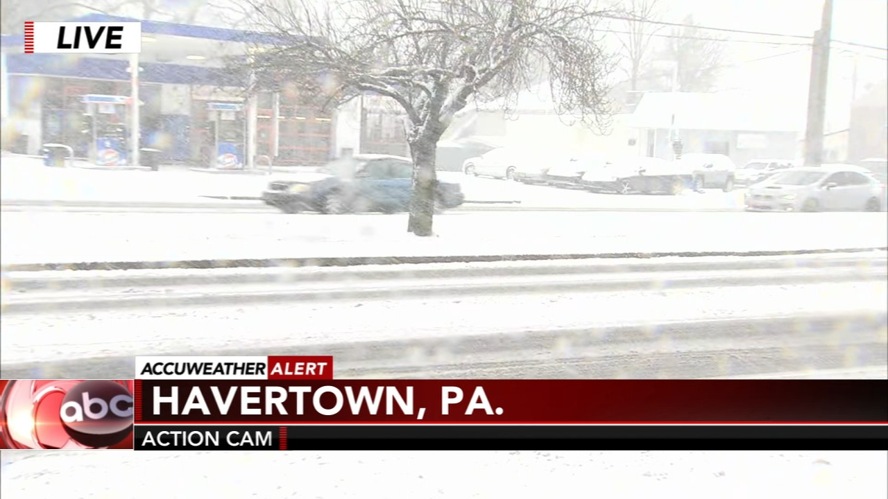 Snow quickly accumulates in Havertown, Delaware County. Jeannette Reyes reports during Action News at 12 p.m. on February 20, 2019.