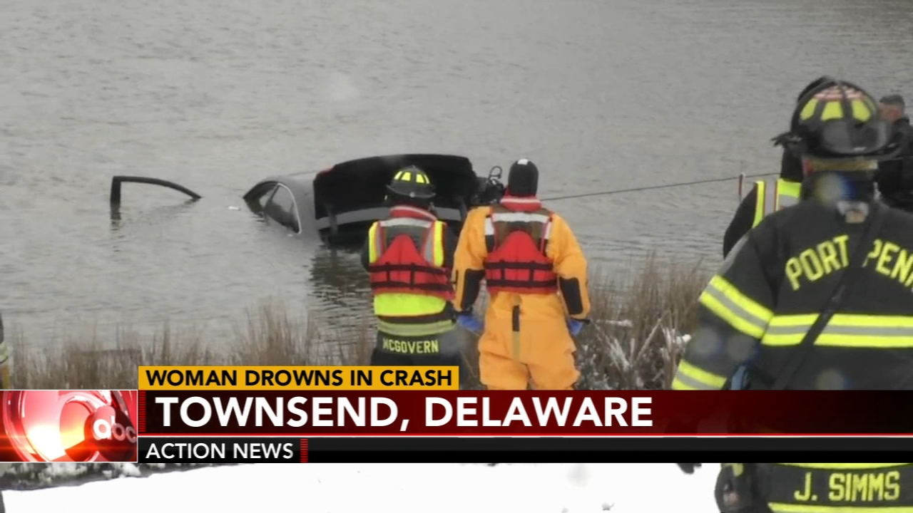 A driver has died after their car plunged into a pond off of State Route 1 in Delaware. Jim Gardner has more on Action News at 11p.m. on Feb. 20, 2019.