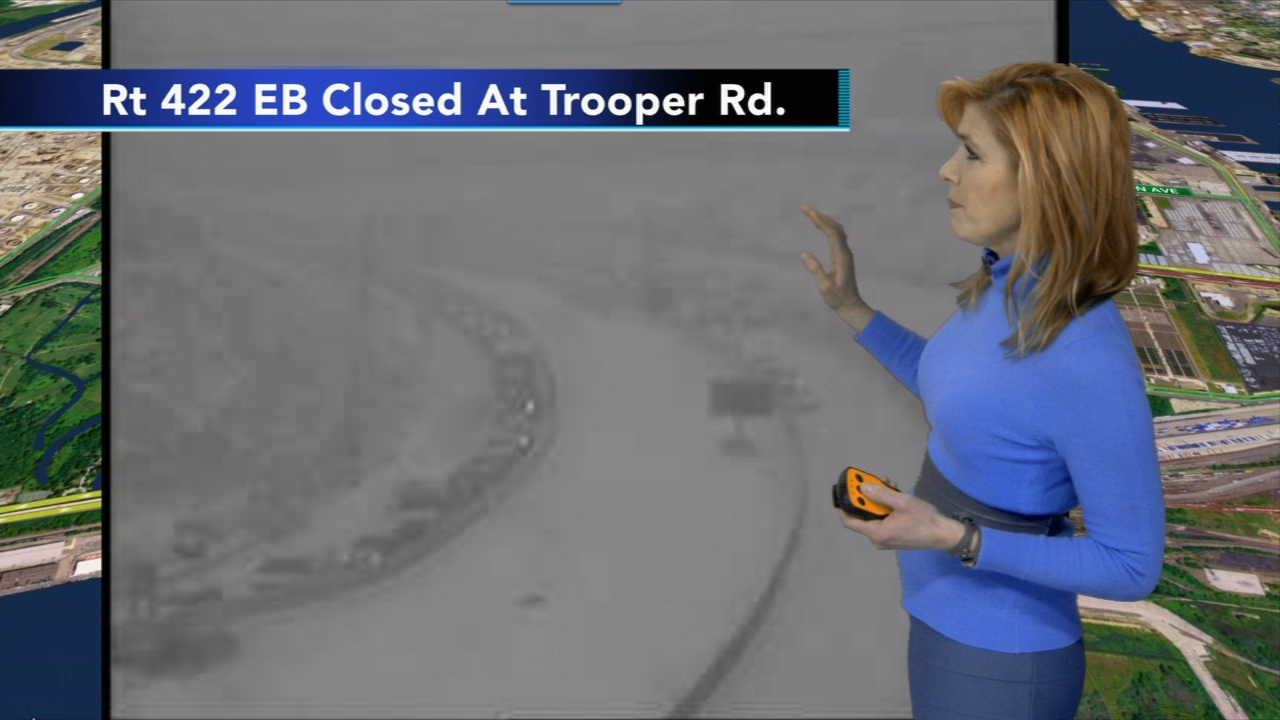 Crash shuts down Route 422 eastbound in Upper Merion. Karen Rogers reports during Action News at 12pm on February 20, 2019.