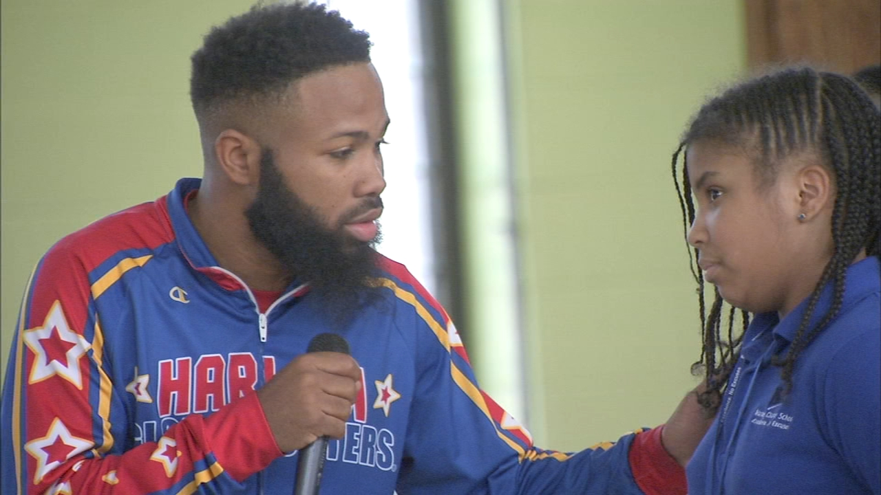 Globetrotter returns to his elementary school in Germantown for visit. Sharrie Williams reports during Action News at 4 p.m. on February 21, 2019.