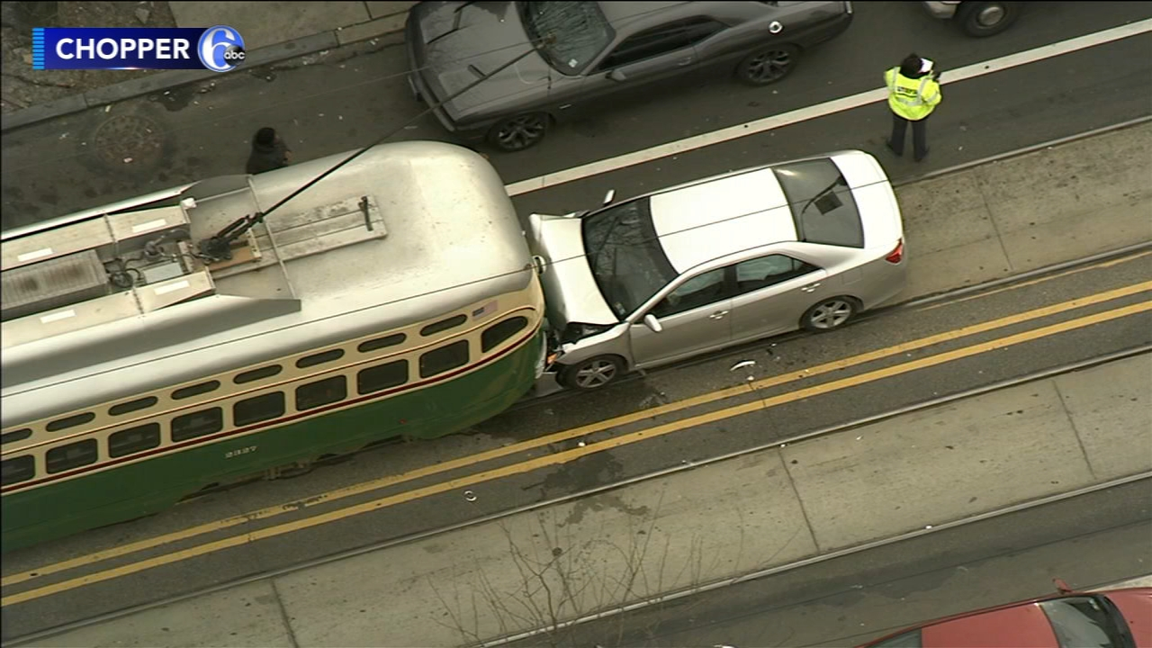 3 injured after car collides with trolley in North Philadelphia. Watch this report from Action News at 4:30pm on February 22, 2019.