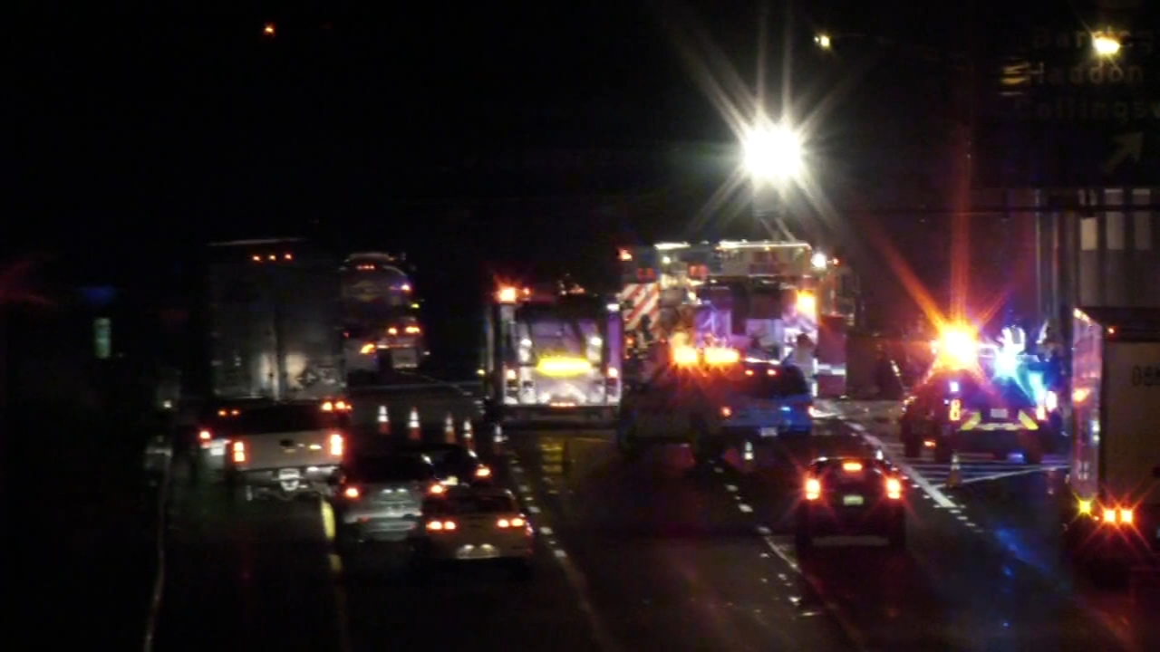 Driver killed after vehicle overturns, catches fire on I-295 in Lawnside. Gray Hall reports during Action News at 6 a.m. on February 23, 2019.