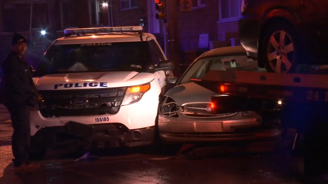 2 officers, 2 civilians injured in vehicle collision in SW Philadelphia. Walter Perez reports during Action News at 11 p.m. on February 22, 2019.