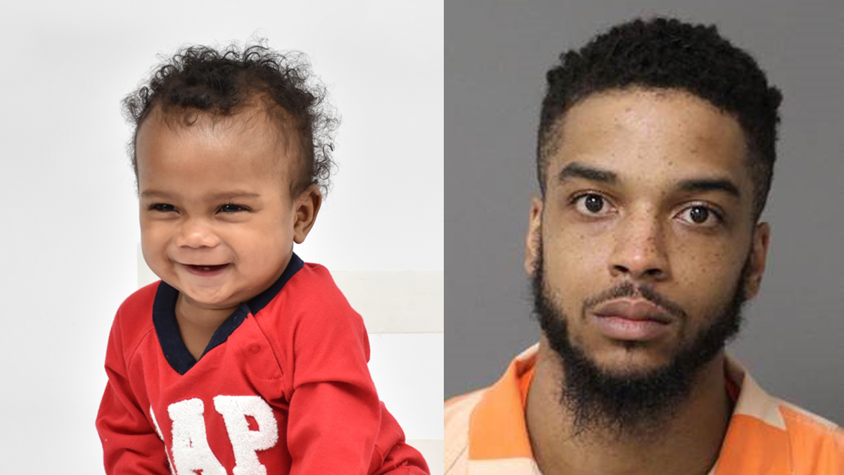 Michael Buchanan (right) is accused of assaulting and killing his girlfriends son, Torrance Adams (left)
