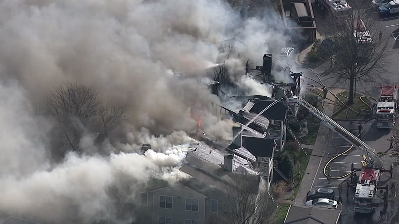 The Raleigh Fire Department confirmed no injuries were sustained after a Southwest Raleigh apartment complex went up in flames Wednesday afternoon.