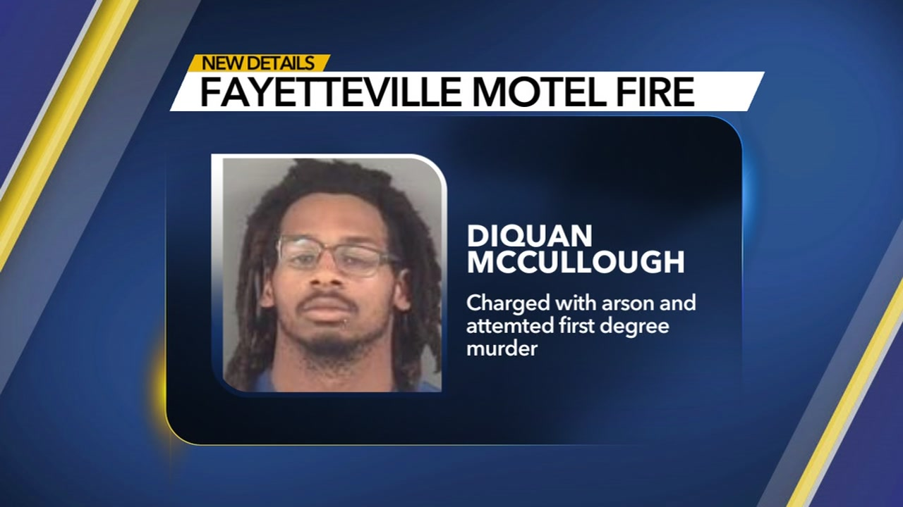 A Fayetteville man is behind bars accused of setting a motel on fire in an attempt to kill a woman.