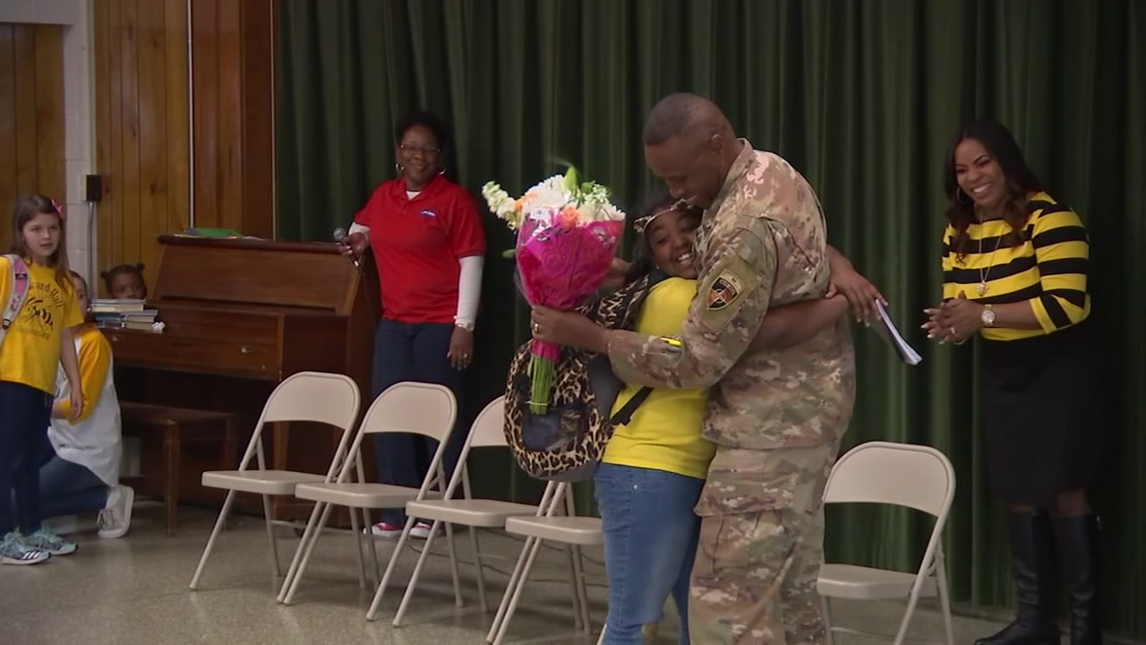 A Fort Bragg soldier surprised his daughter during class at Howard Hall Elementary School Friday afternoo