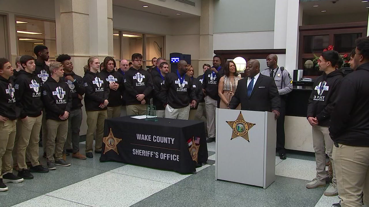Wake Forest High School football champs honored by the Wake County Sheriffs Office.