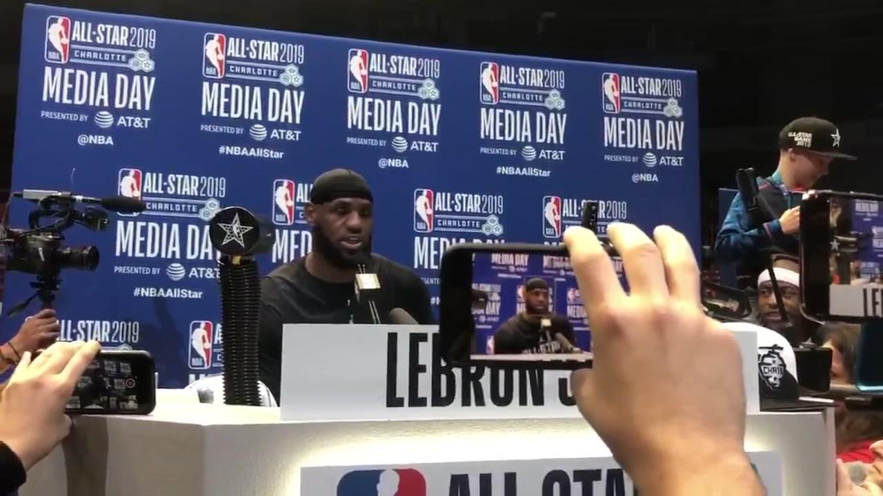 Lebron James talks Zion, Duke at NBA All-Star Media Day