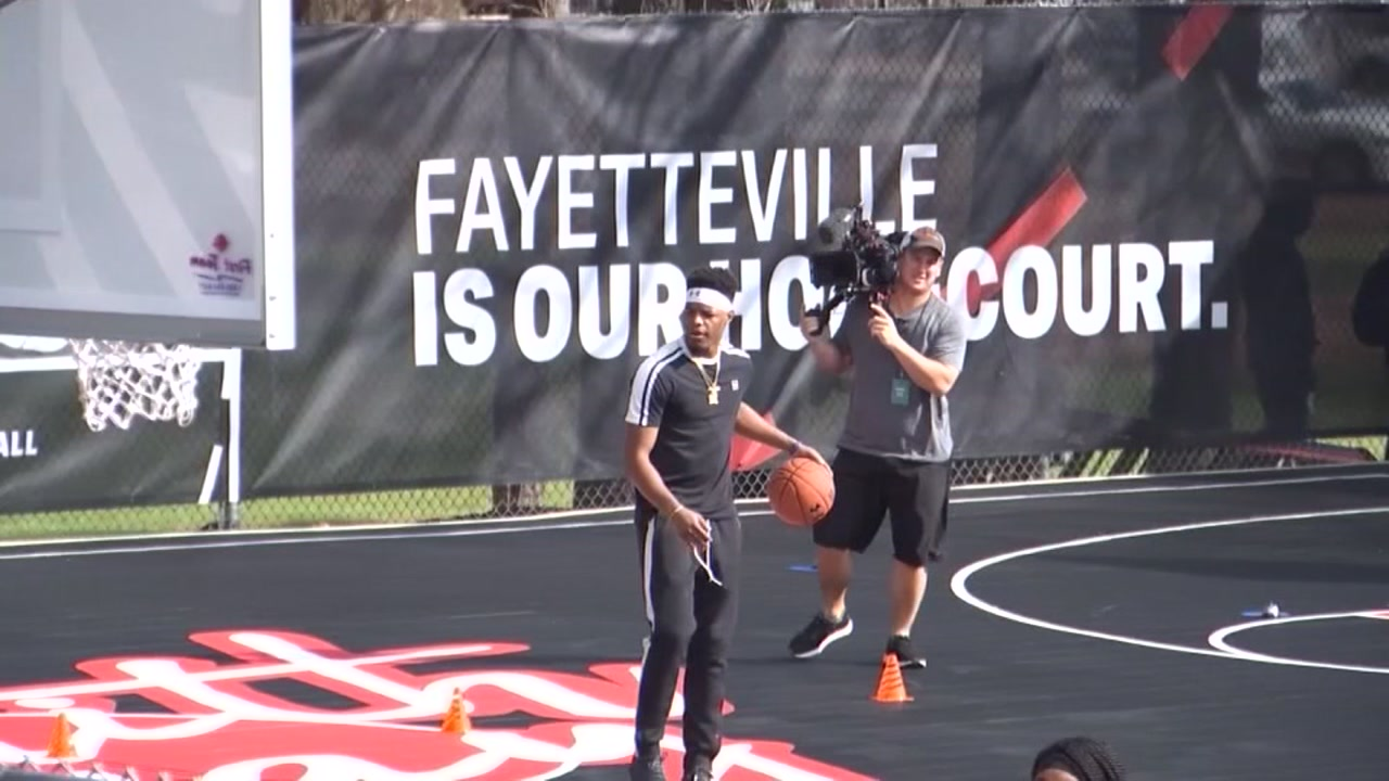 NBA star Dennis Smith Jr. was on hand in is hometown to unveil newly refurbished basketball courts.