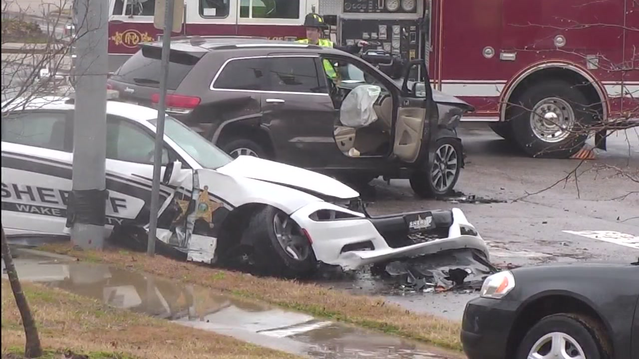 A Wake County Sheriffs Office car crashed Wednesday afternoon in Raleigh.
