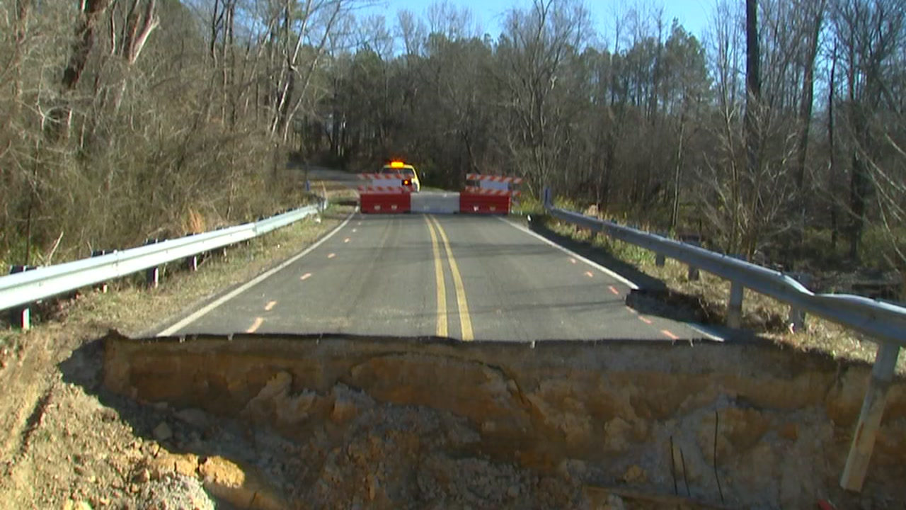 There was no barrier on Auburn Church Road warning of this sinkhole, Kimberly Pedro says.